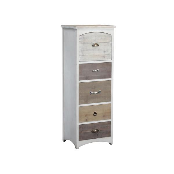 Powell Brighton Tall Chest White and Driftwood Tones