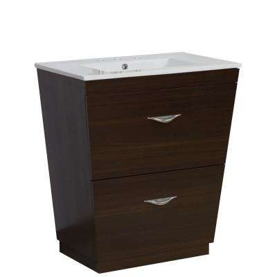 16-Gauge-Sinks 21 in. W x 18.5 in. D Bath Vanity in Wenge with Ceramic Vanity Top in White with White Basin