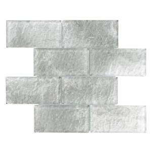 Igloo Convex Subway Ash 11-5/8 in. x 11-7/8 in. x 12 mm Glass Mosaic Tile