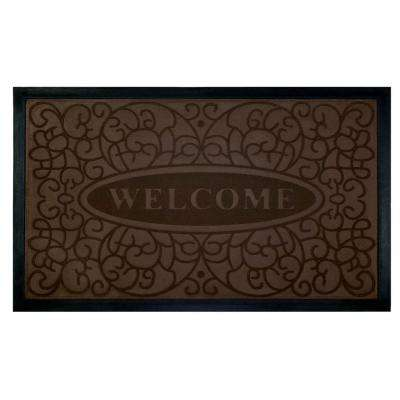 Swirl Coffee 18 in. x 30 in. Rubber and Poly Door Mat