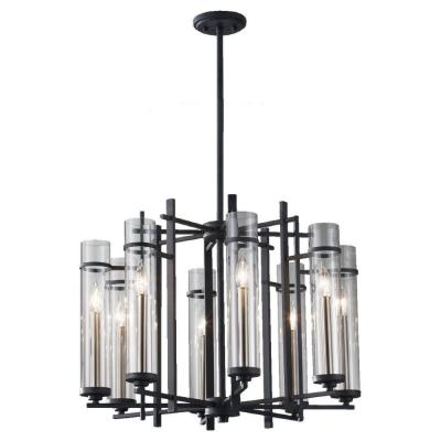 Ethan 8-Light Antique Forged Iron/Brushed Steel 1-Tier Chandelier Shade