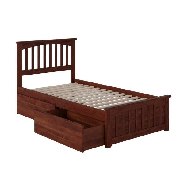 Mission Walnut Twin XL Platform Bed with Matching Foot Board with 2-Urban Bed Drawers