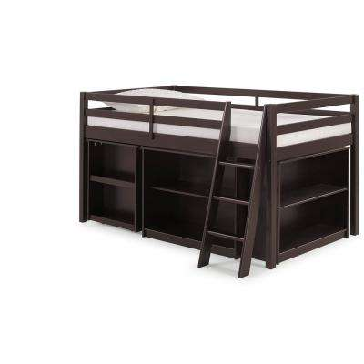 Roxy Espresso Wood Twin Junior Loft Bed with Pull-out Desk, Shelving and Bookcase
