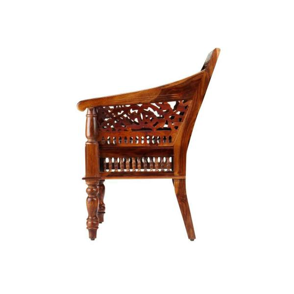 Home Decorators Collection-Maharaja Walnut Wood Hand-Carved Arm Chair