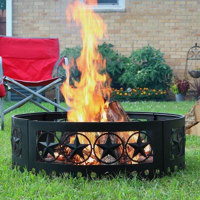 36 in. Round Heavy-Duty Steel 4 Star Wood Burning Fire Pit Ring