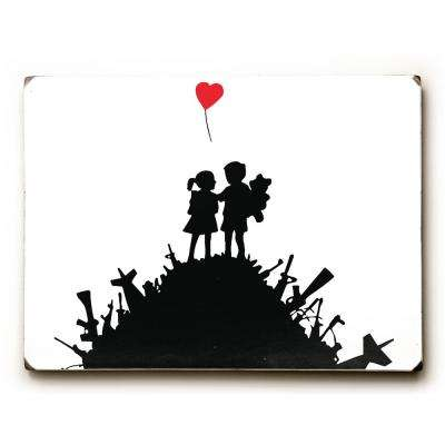 "9 in. x 12 in. ""Boy Girl Gun Hill"" by Banksy Solid Wood Wall Art"