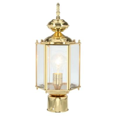 Brass Guard Collection 1-Light Polished Brass Outdoor Post Lantern