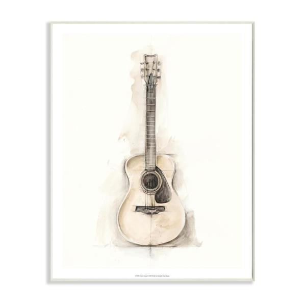 Stupell Industries Acoustic Guitar Watercolor Drawing By Ethan Harper Wood Abstract Wall Art 19 In X 13 In Sae 110 Wd 13x19 The Home Depot
