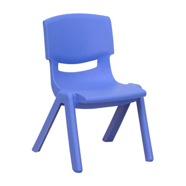 Flash Furniture Blue Plastic Stackable School Chair with 10.5 in. Seat Height