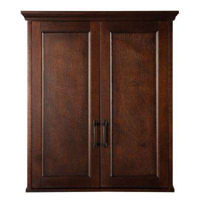 Ashburn 23-1/2 in. W Bathroom Storage Wall Cabinet in Mahogany