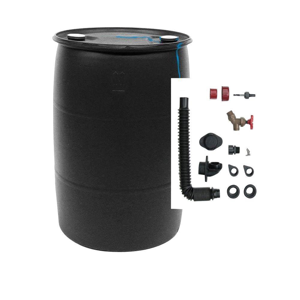 DIY Rain Barrel Bundle with Diverter System 55 Gal. Black Plastic Drum