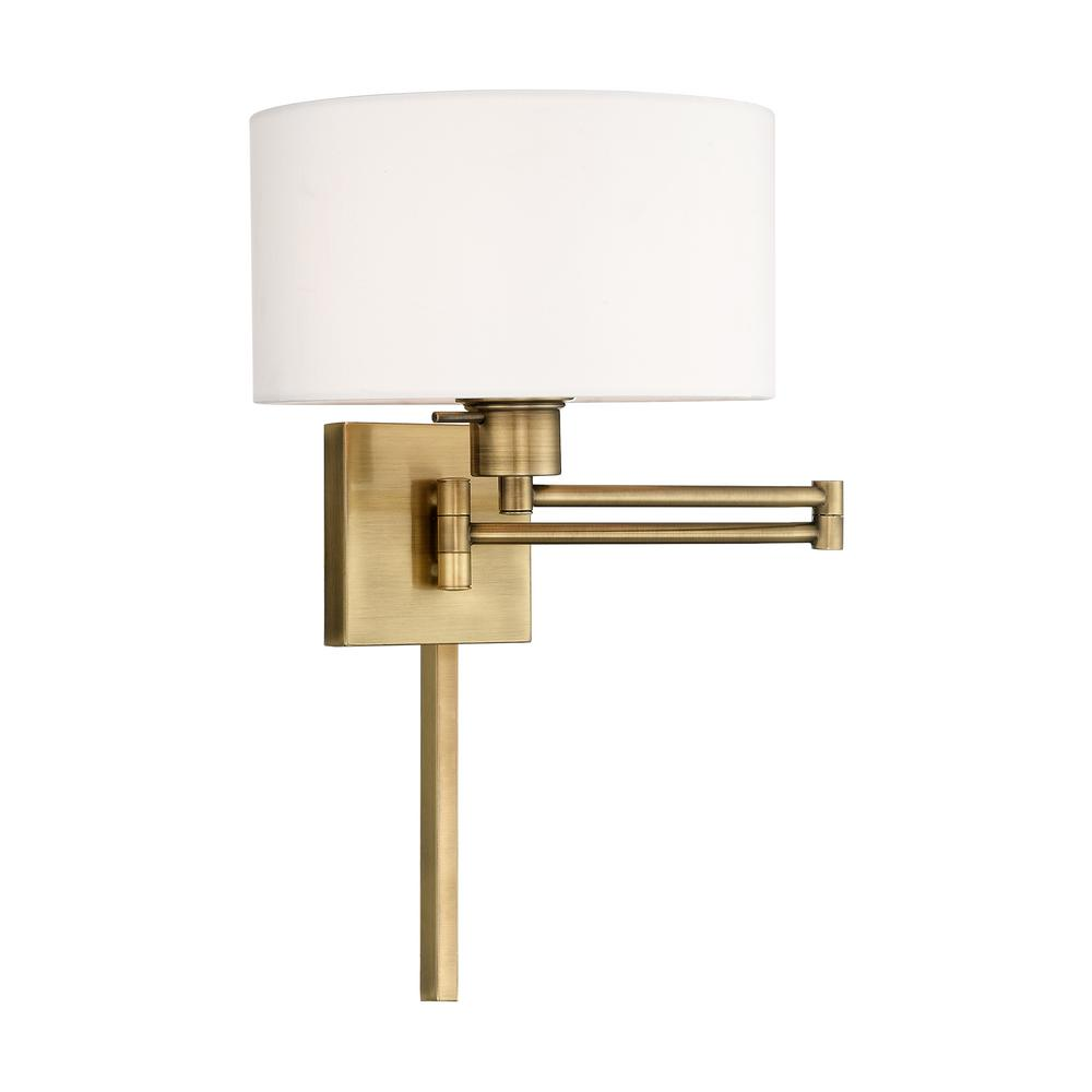 Livex Lighting Swing Arm Wall Lamps 1 Light Antique Brass Swing Arm Wall Lamp 40036 01 The Home Depot