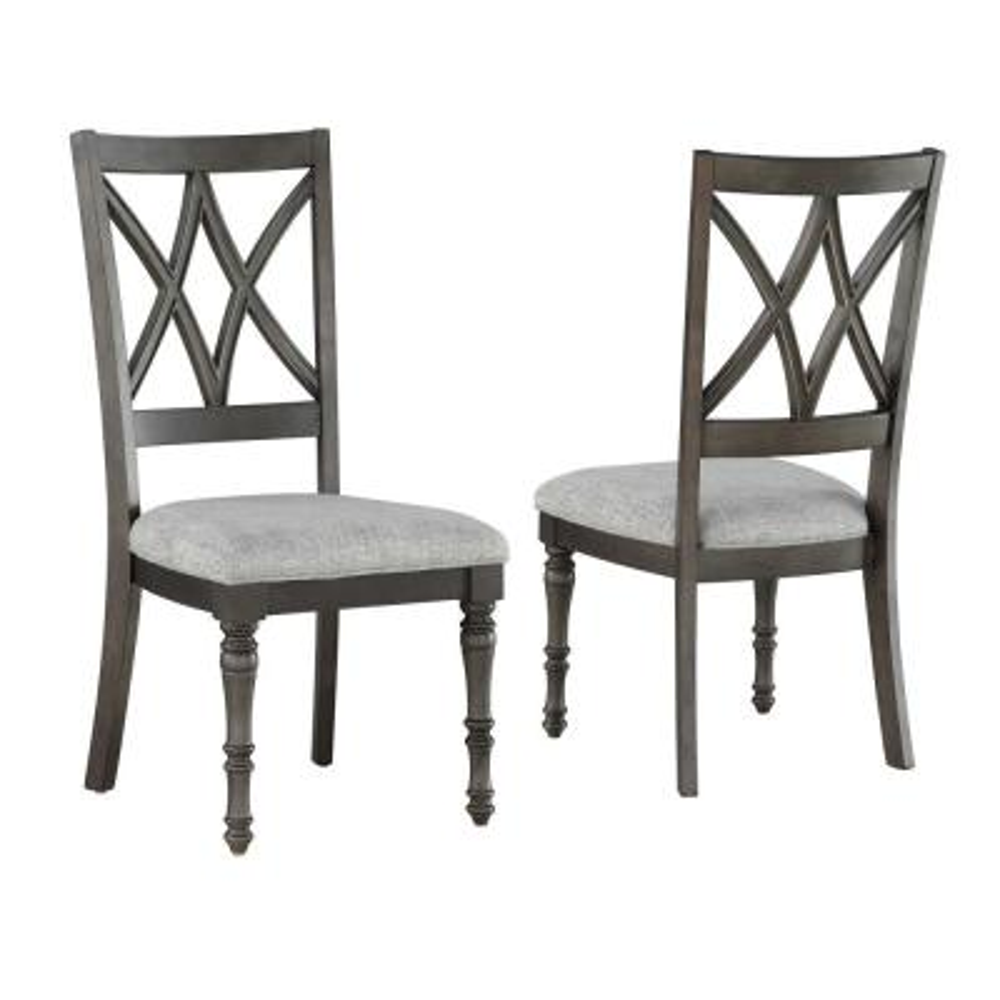Linnett Grey Brown Polyester Side Chair (Set of 2)