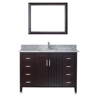 Jackie 48 in. Vanity in Chai with Marble Vanity Top in Carrara White and Mirror