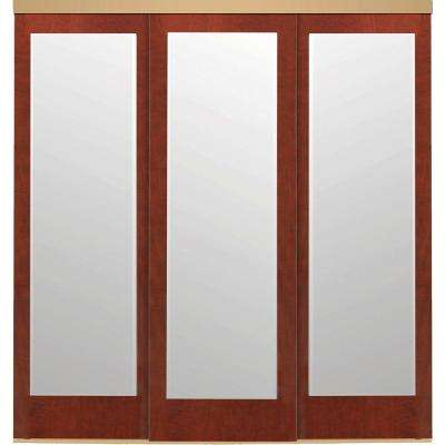 96 in. x 84 in. Mir-Mel Mirror Cherry Solid Core MDF Interior Closet Sliding Door with Gold Trim