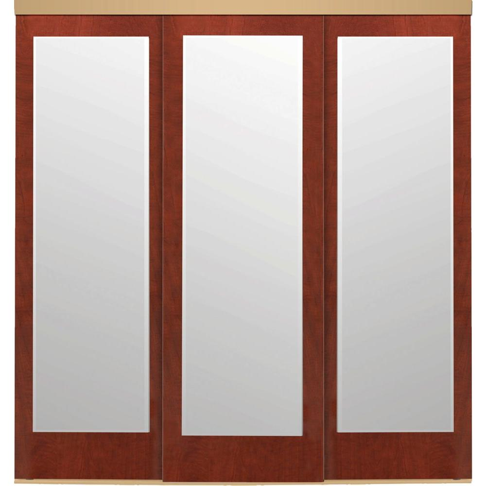 108 in. x 80 in. Mir-Mel Mirror Cherry Solid Core MDF