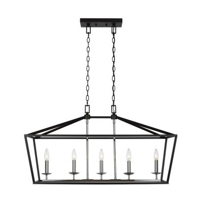Weyburn 5-Light Black and Polished Chrome Caged Island Chandelier