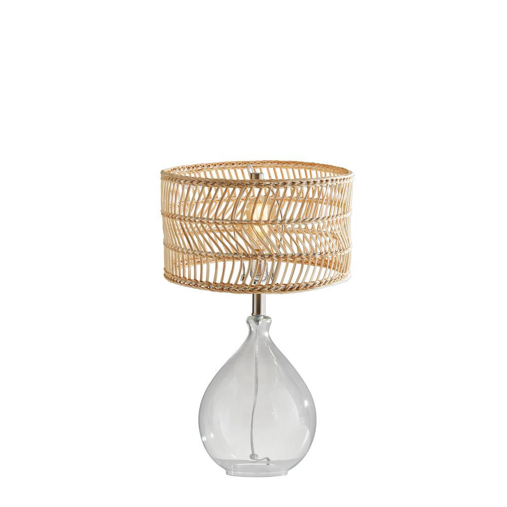 Cuba 23 in. Clear Glass and Rattan Teardrop Table Lamp