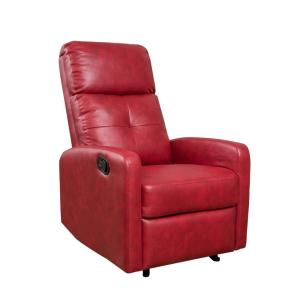Noble House Samedi Oxblood Red PU Leather Recliner