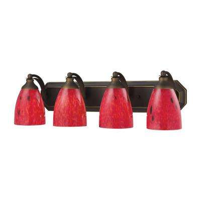 4-Light Aged Bronze Vanity Light with Fire Red Glass