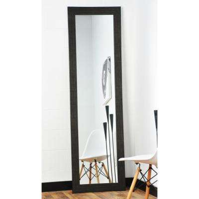 Modern Scratched Black Full Length Framed Mirror