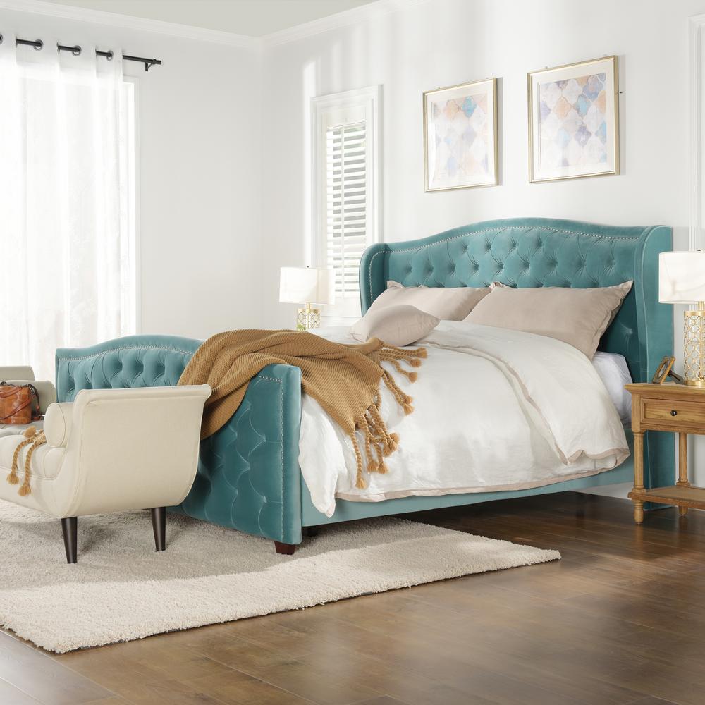 Marcella Arctic Blue King Upholstered Bed