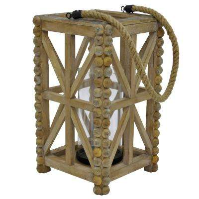 8.25 in. x 8.25 in. Brown Wood Lantern