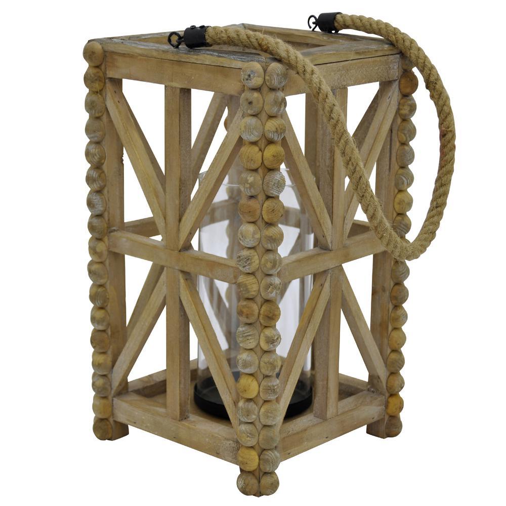 8.25 in. x 8.25 in. Brown Wood Lantern