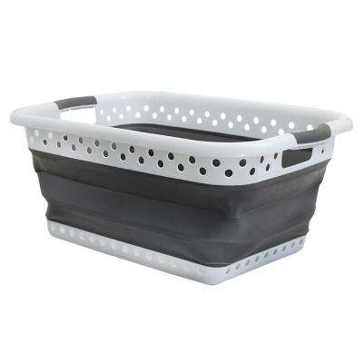 White and Gray Collapsible Plastic and Rubber Laundry Basket