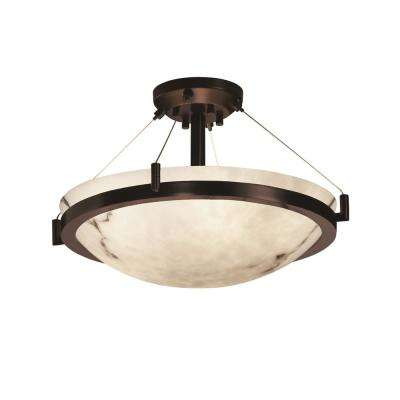 LumenAria Ring 21 in. 3-Light Dark Bronze Semi-Flush Mount with Faux Alabaster Shade