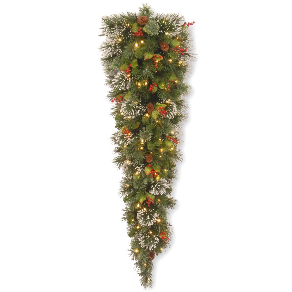 Wintry Pine 60 in. Teardrop with Clear Lights