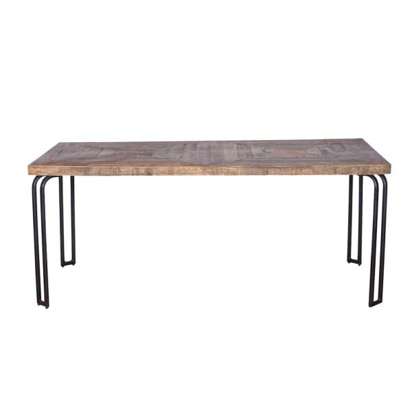 Shelly Natural/Black Metal Dining Table for (Seats of 6)