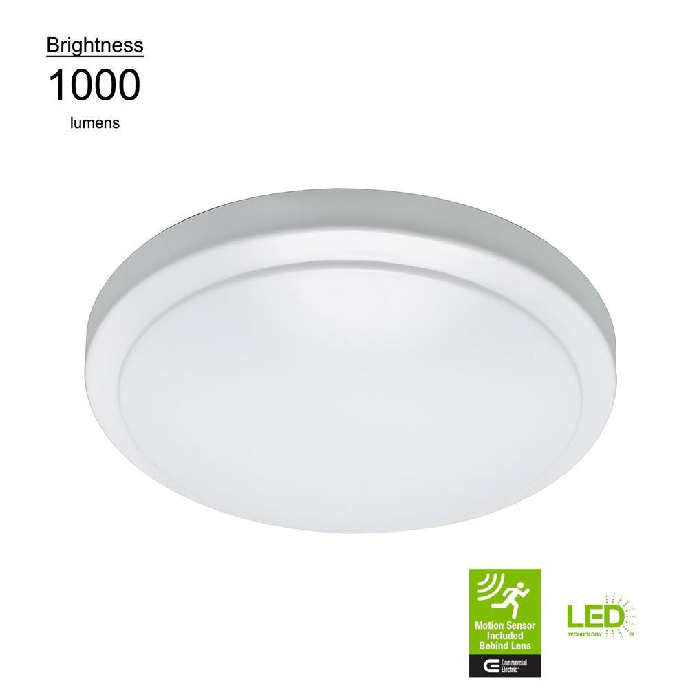 Motion Sensor Motion Controlled Lighting 12 in. Round 60-Watt Equivalent White Integrated LED Flush Mount