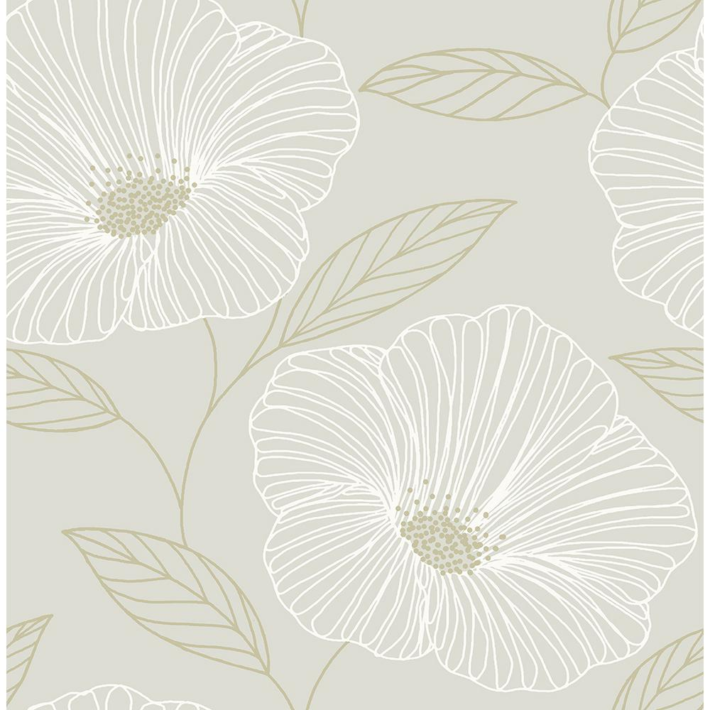 A Street 8 In X 10 In Mythic Dove Floral Wallpaper Sample 2764