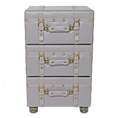 Gray Faux Leather Trunk-Inspired Cabinet with 3-Drawers