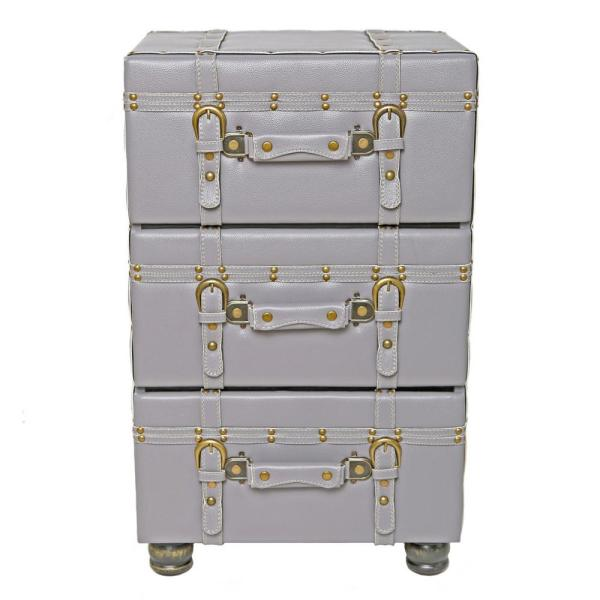 River of Goods Gray Faux Leather Trunk-Inspired Cabinet with 3-Drawers