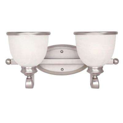 2-Light Pewter Bath Vanity Light with White Marble Glass