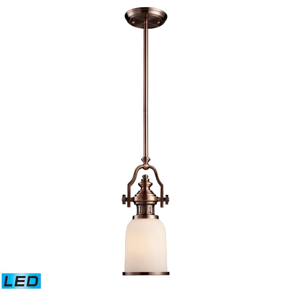 Chadwick 1-Light LED Antique Copper and White Glass Pendant