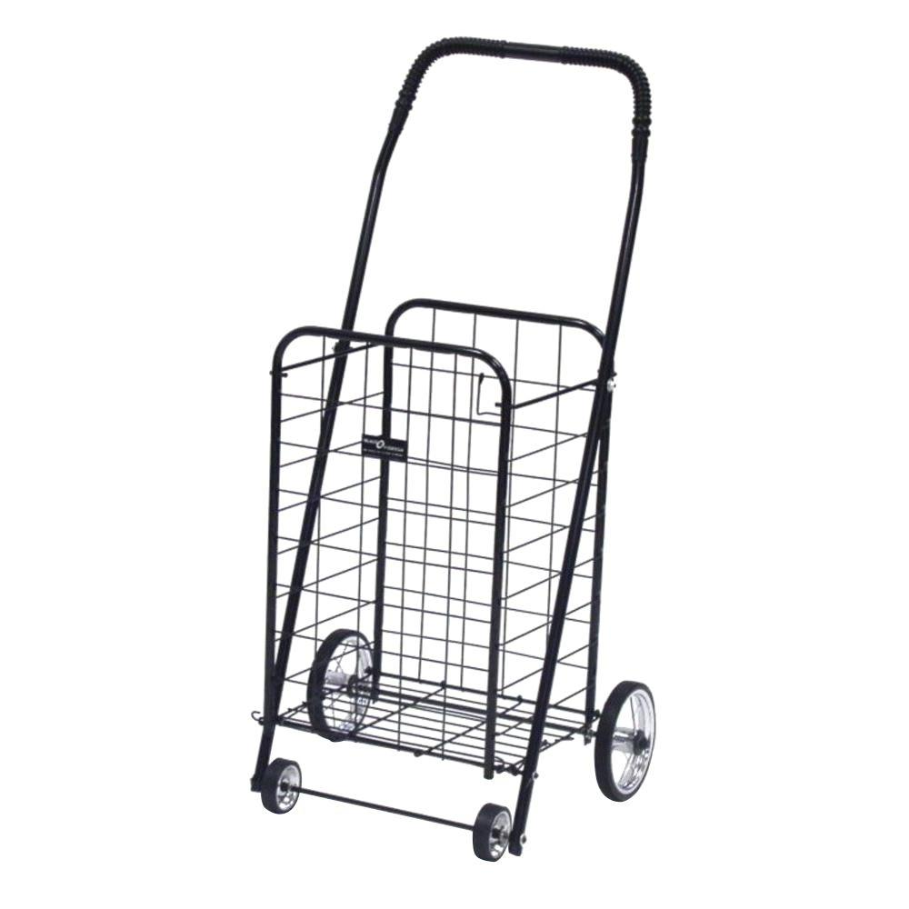 Easy Wheels Mini Shopping Cart in Black The Easy Wheels Mini Shopping Cart has been the industry's premier cart with industrial strength for home use. When lying down, with the cart folded, the highest measurement is the wheels with a 5.75 in. Dia giving an incredible amount of convenience in a compact size. This particular model comes with genuine chrome-spoked wheels. Color: Black.