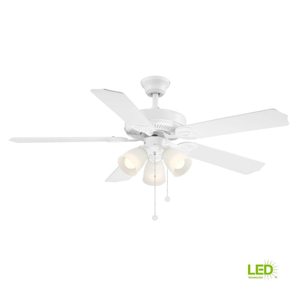 Brookhurst 52 In Led Indoor White Ceiling Fan With Light Kit Yg268 Wiring Diagram Hampton Bay Fans
