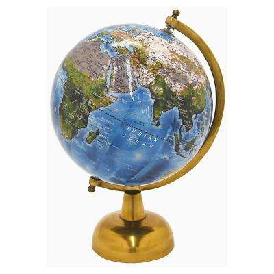 8 in. x 8 in. Globe 8 in. - Antq Brass Base in Blue