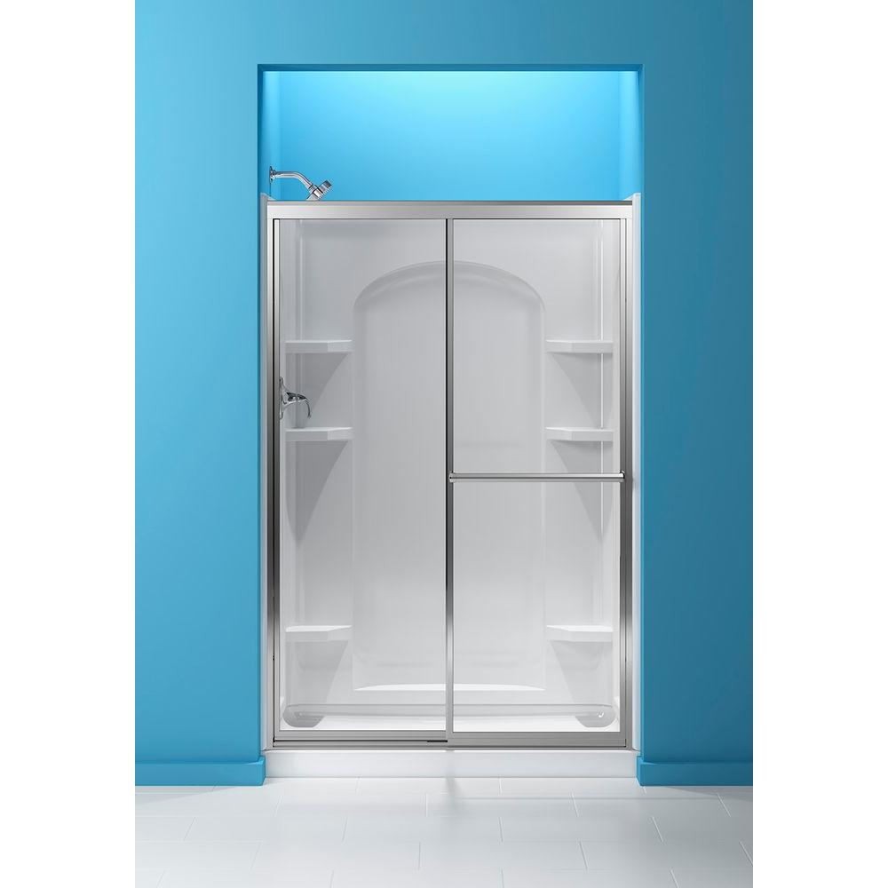 STERLING 48-7/8 in. x 70-1/4 in. Framed Sliding Shower Door in Silver with Clear Glass Texture and ComforTrack Technology