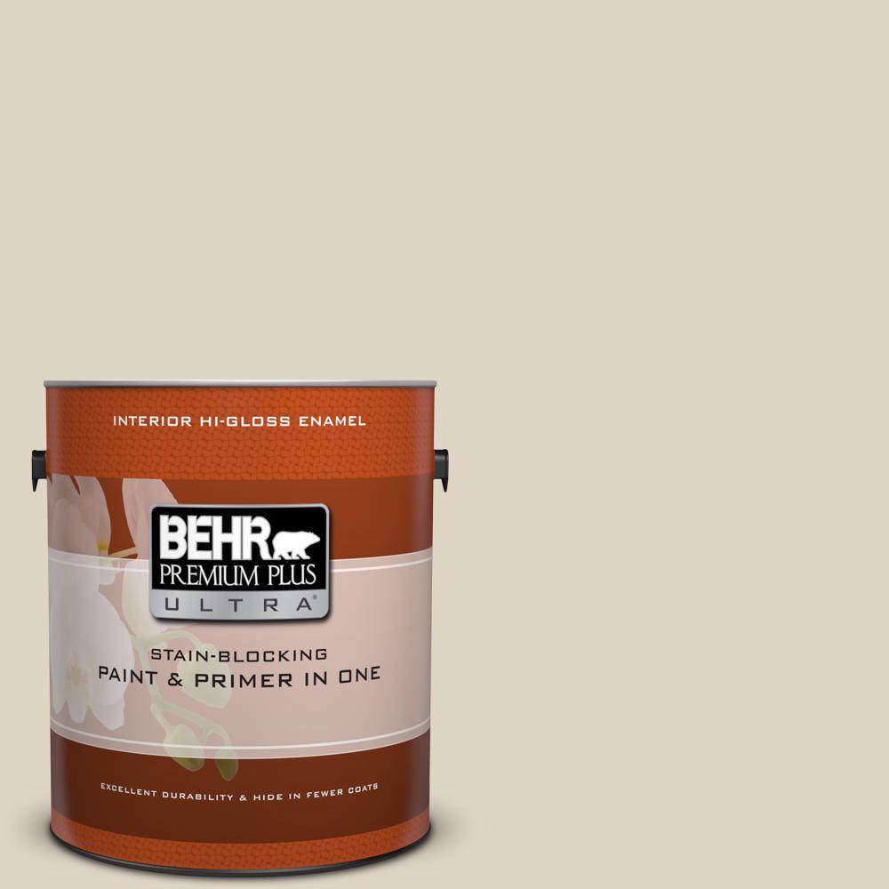 1 gal. #HDC-NT-15 Rococo Beige Hi-Gloss Enamel Interior Paint