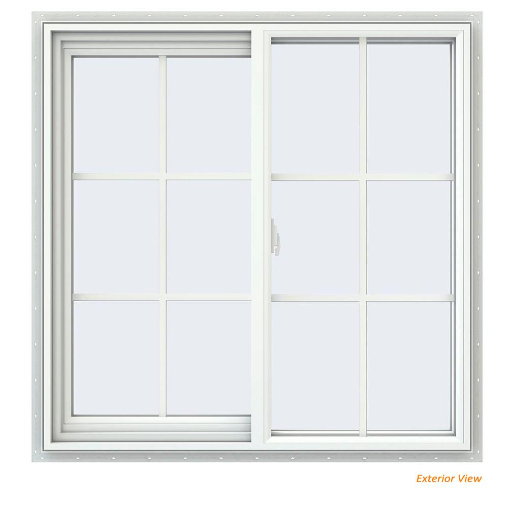 35.5 in. x 35.5 in. V-2500 Series White Vinyl Left-Handed Sliding