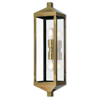 Nyack Collection 2 Light Antique Brass Outdoor Wall Mount Lantern