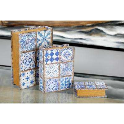 Rectangular Pine Wood and Vinyl Lattice-Patterned Book Boxes (Set of 3)