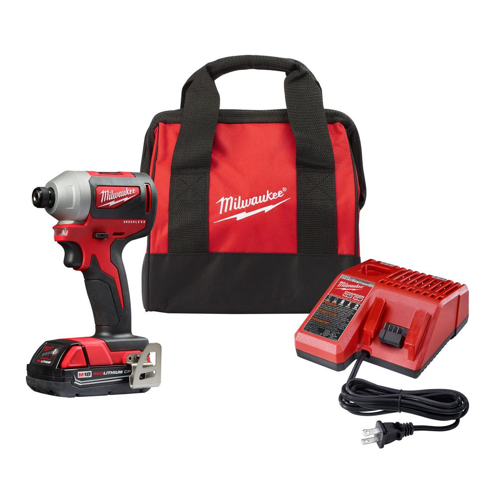 Milwaukee Milwaukee M18 18-Volt Lithium-Ion Compact Brushless Cordless 1/4 in. Impact Driver Kit W/ (1) 2.0 Ah Battery, Charger & Tool Bag