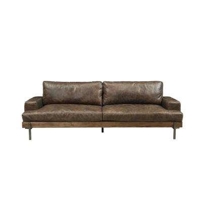 Silchester 95 in. Distressed Chocolate Leather 3-Seater Bridgewater Sofa with Square Arms