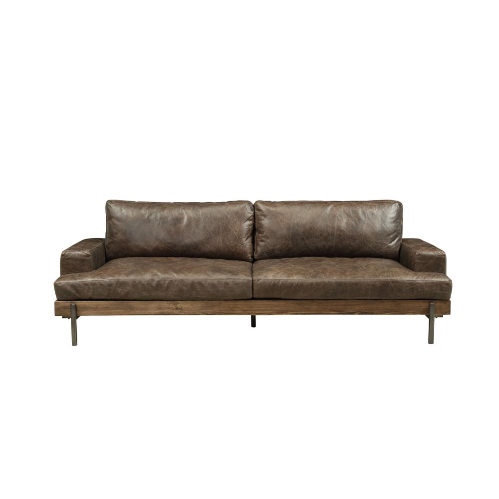 Acme Furniture Silchester Distressed Chocolate Top Grain Leather Oak Wood Trim Sofa