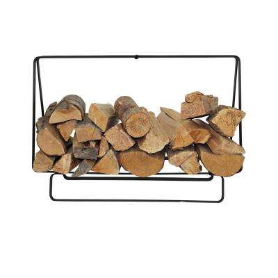 Handcrafted Indoor/Outdoor Medium Rectangular Firewood Rack with Handle Black